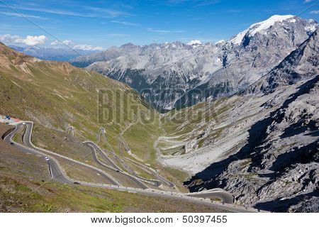 The South Tyrol side of Stelvio Pass (Italian: Passo dello Stelvio), located in Italy, at 2757 m  is the highest mountain pass in the Eastern Alps, and the second highest in the Alps.