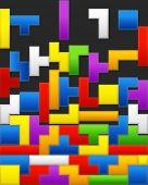 Falling down color blocks poster