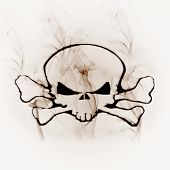 illustration skull in the smoke white background poster