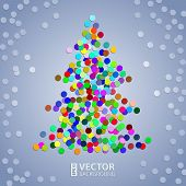 Christmas colorful confetti tree on the grey background with white snow poster