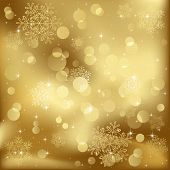 Abstract background, with stars, snowflakes and blurry lights, illustration poster