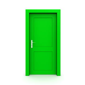 Closed Single Green Door