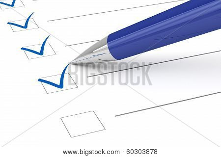 Checklist paper and pen. Isolated on white background poster