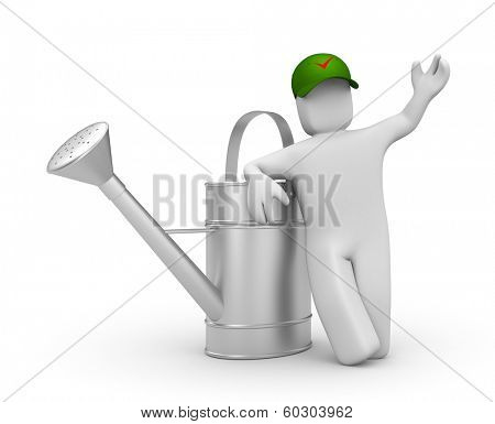 Worker with watering can