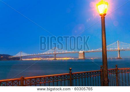 San Francisco Pier 7 sunset in California USA