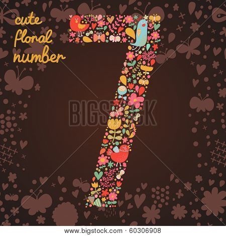 The number 7. Bright floral element of colorful alphabet made from birds, flowers, petals, hearts and twigs. Summer floral ABC element in vector