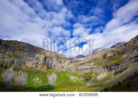 Monte Perdido Valle de Ordesa in Soaso circus Pyrenees Aragon Huesca at Spain