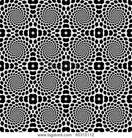 Design Seamless Monochrome Helix Movement Snakeskin Pattern. Abstract Background In Op Art Style