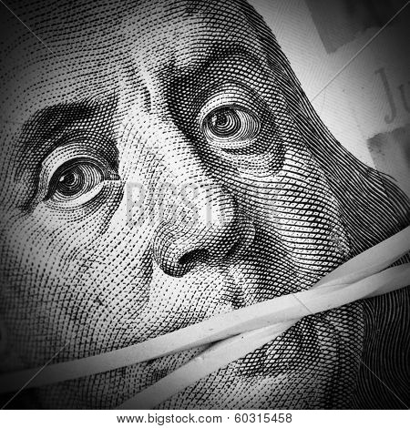 Money keeps silent. Corruption and crime concept poster