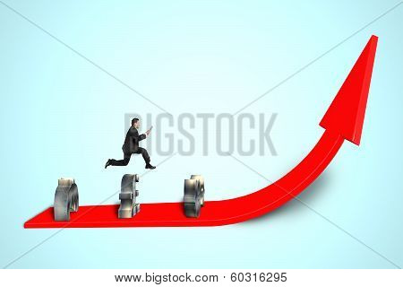 Jumping Over Money Symbol Obstacles On Red Arrow