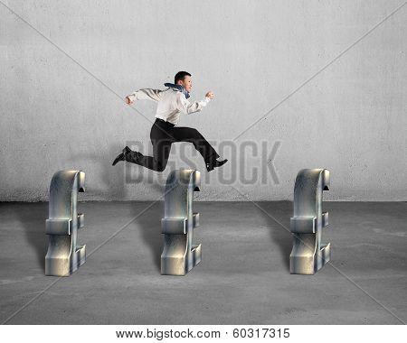 man jumping Over Pound Symbols