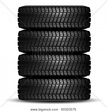 Illustration of car tire on white background. Vector.
