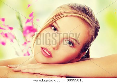 Young beautiful blond teen woman