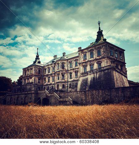Old stylized Pidhirtsi Castle village Podgortsy Renaissance Palace Lviv region Ukraine poster