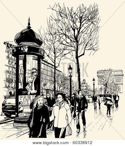 Vector illustration - Paris - avenue des champs-elysees