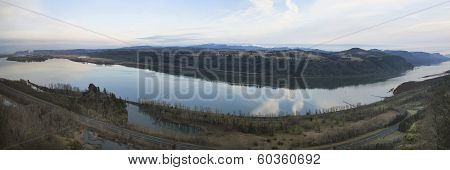 Columbia River Gorge between Washington and Oregon in the Morning during Winter Panorama poster