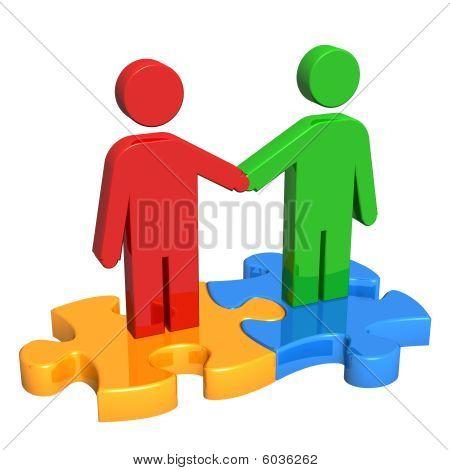 Handshake auf Puzzleteile