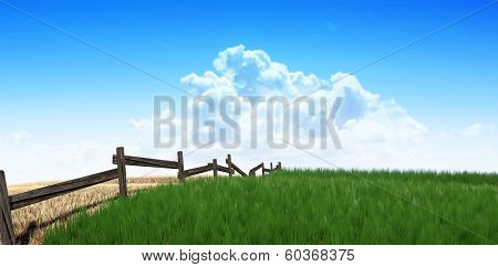 Green Pastures With Fence