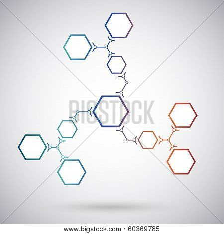 Communication Concept Ten Hexagonal Cells. Gradient