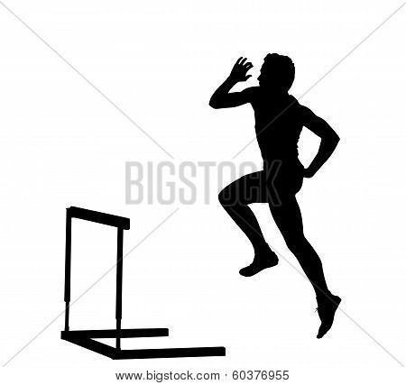 Side Profile Of Boy Hurdles Runner Ready For Jump