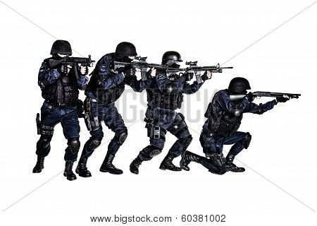 Special weapons and tactics (SWAT) team in action poster