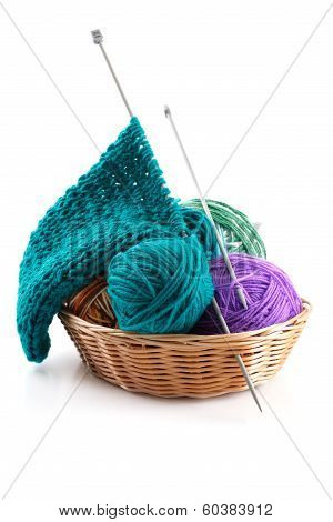 Knitting Wool And A Few Balls In The Basket For Needlework On A White Background