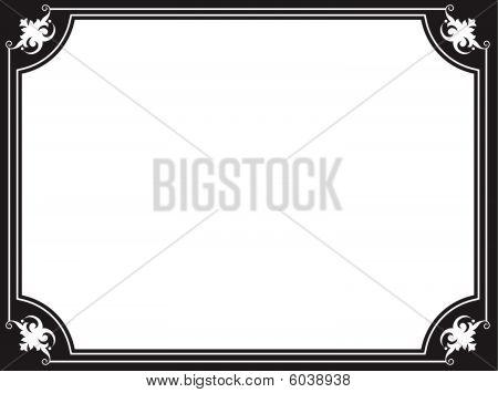 Black and white scrollwork vector border frame clip art poster