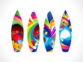 abstract colorful surf board set vector illustration poster