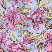 Floral Seamless Pattern with hand drawn flowers - orchids on violet background. poster