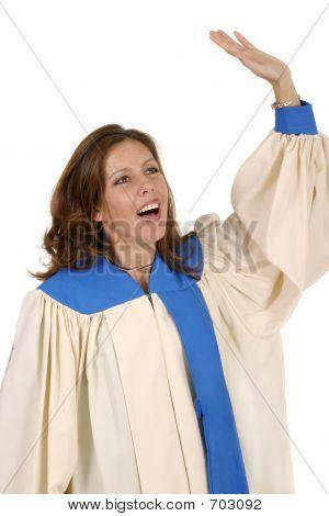 Woman In Choir Robe Praising God 2