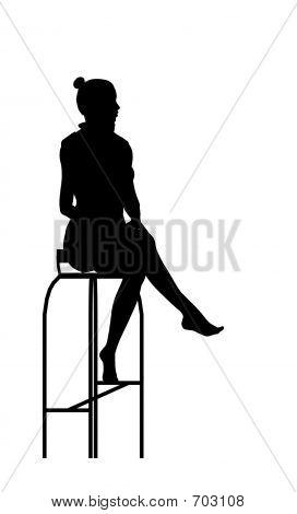Woman Sitting Silhouette