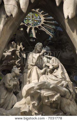 Barcelona - detail from Sagrada la Familia - coronation of hl. Mary