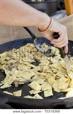 Ravioli pasta with porcini mushrooms
