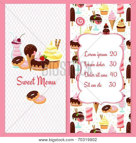Colorful vector dessert menu template for restaurants with a framed price list surrounded by ice cream  candy  sweets  pastries and desserts on one half and the text Sweet Menu on the other poster