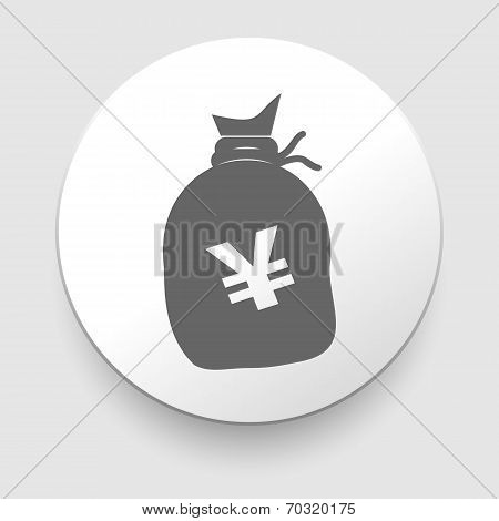 Illustration of a big sack with Yen currency sign