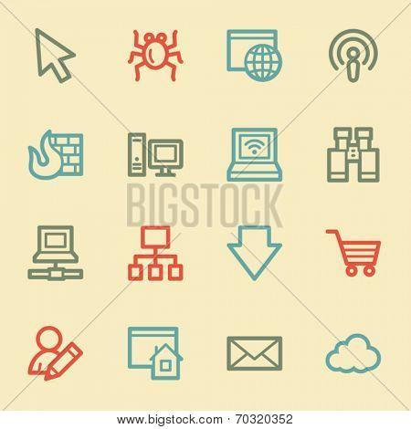 Internet web icons, retro color