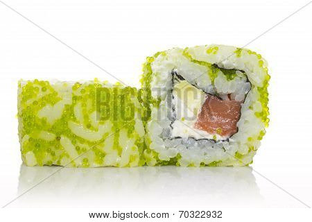 Sushi Roll With Green Tobico Isolated On White Background