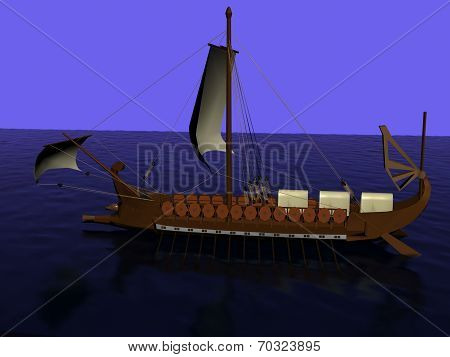 Galley Of Wood With A Sail