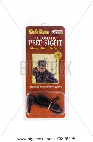 West Point - August 17, 2014: Automatic peep sight by Allen for bow hunting in packing