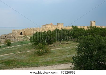 Fortified Wall Of Middle Fortress In Ancient Turkish Stronghold Akkerman ,Ukraine,unesco heritage