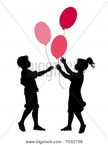 The Little Boy And Girl Playing With Balloons