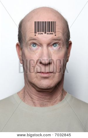 Surprised consumer with a bar code on his forehead poster