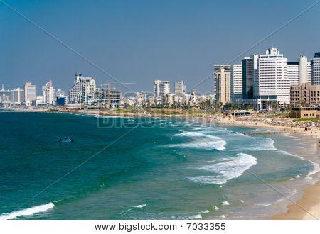 Tel Aviv And Beach Along The Coast