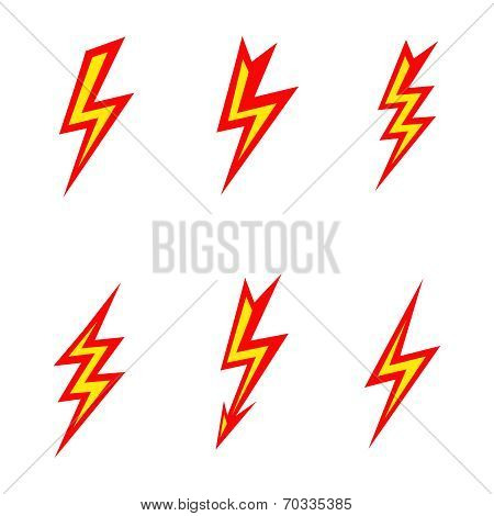 vector lightning colored silhouettes on white background  icon set