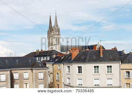 Urban Houses And Saint Maurice Cathedral In Angers