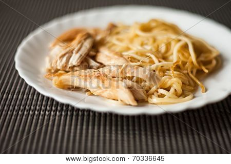 Plate With Meat And Pasta, Fried Chicken As Food For Breakfast