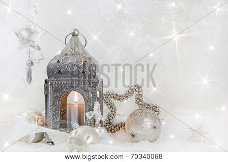 Christmas Decoration With A Latern In White And Silver For A Christmas Card