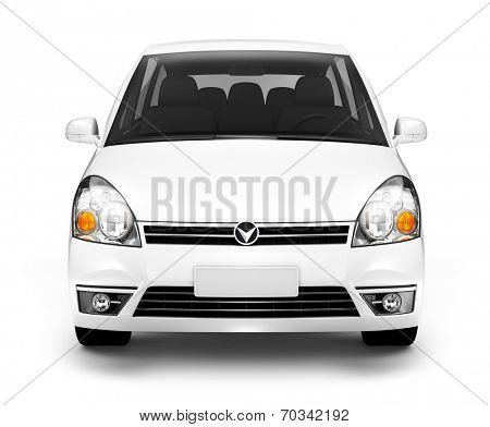Studio Shot of Front View of White Car