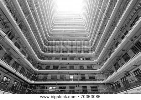 Old public residential building in Hong Kong