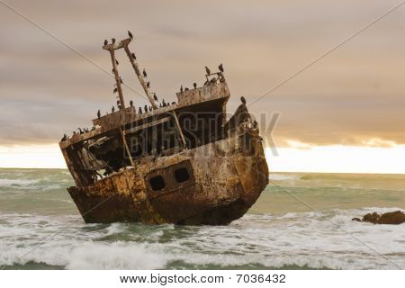 Shipwreck of the coast of South Africa at sunset